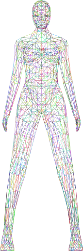 Low-Poly-Female-Body-Wireframe-Prismatic. Autor GDJ. Open Clipart
