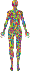 Polychromatic-Low-Poly-Female-Body-Silhouette. GDJ. Open Clipart